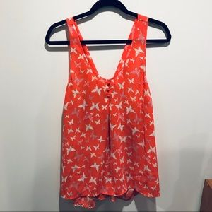 Candie's Orange Butterflies Pattered Tank Top
